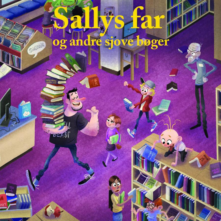 Forsiden til folderen med sjove børnebøger i stil med Sallys far